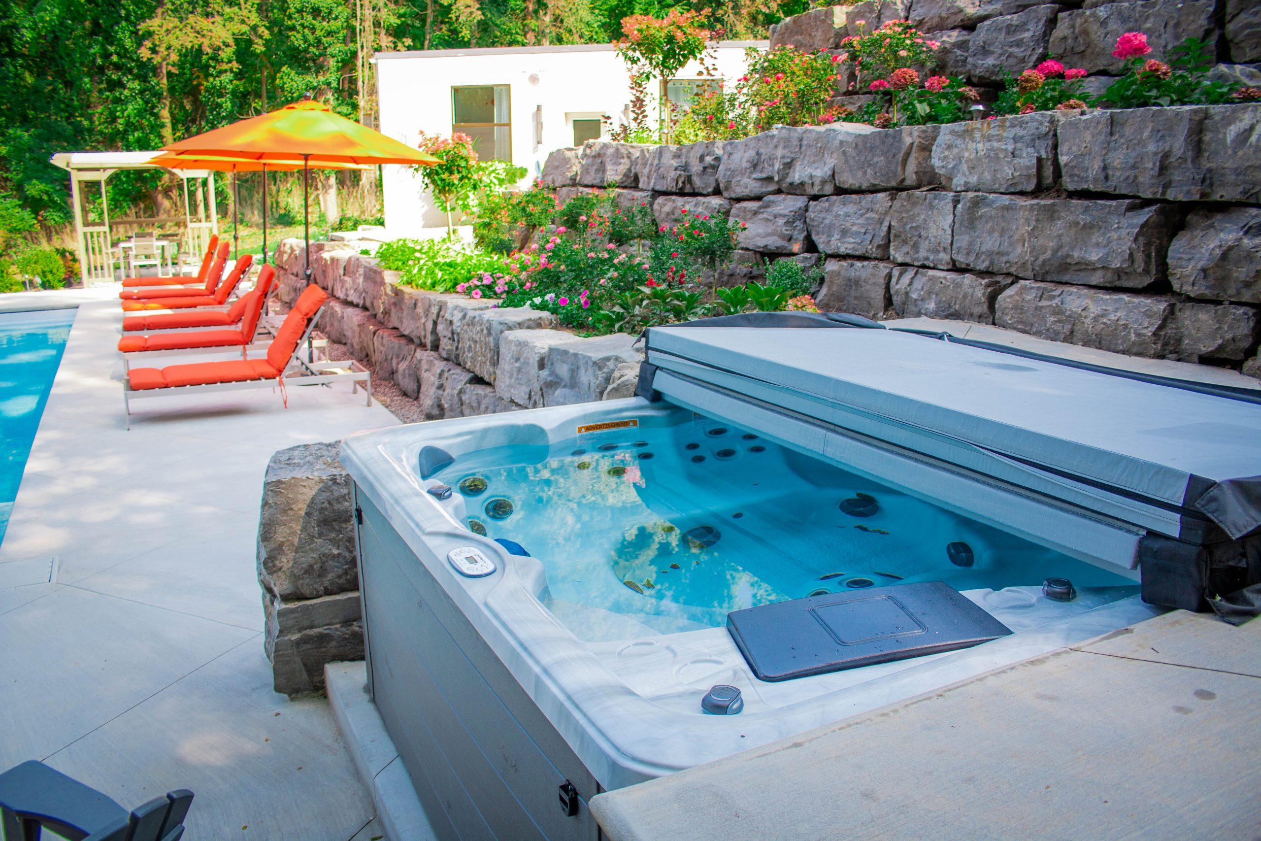 North Eastern Pools spas in showroom